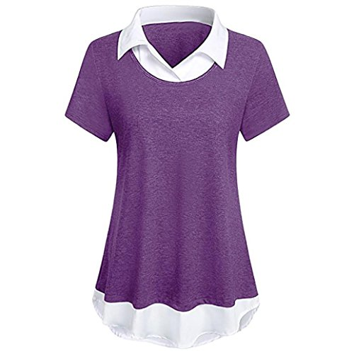 Anxinke Women Solid Short Sleeve Stand Collar Ruffled Tunic Tee Shirts Top (S, Purple)