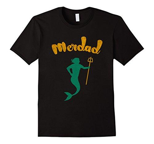 Mermaid Merman Costume (Mens Cool Merdad - Mermaid's Father T-Shirt Large Black)