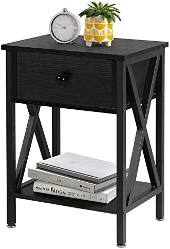 VECELO Versatile Nightstands X-Design Side End Table Night Stand Storage Shelf