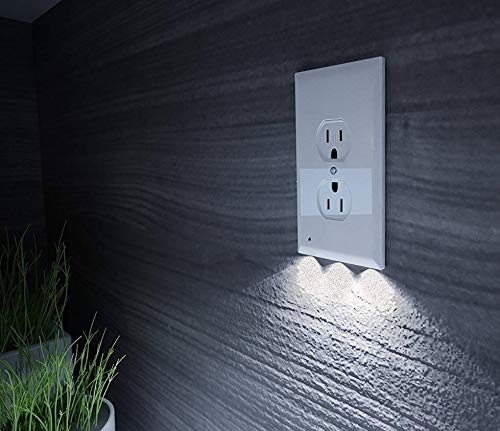 Outlet Wall Plate With LED Night Lights - 1 PACK - No Wires Or Batteries - Night Light - [UPGRADED]