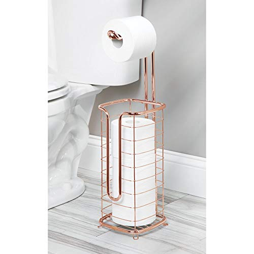 mDesign Free Standing Toilet Paper Holder Stand and Dispenser, with Storage for 3 Spare Rolls of Toilet Tissue While Dispensing 1 Roll - for Bathrooms/Powder Rooms - Holds Mega Rolls - Rose Gold