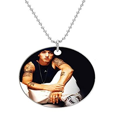 -Eminem Custom Fashion Aluminum Men's Dog Tag Army Style Pendant Ball Chain Necklace