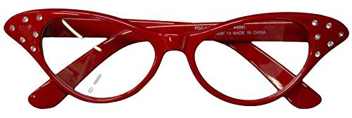 Flirting with The 50's Rhinestone Cat Eye Glasses (Red)]()