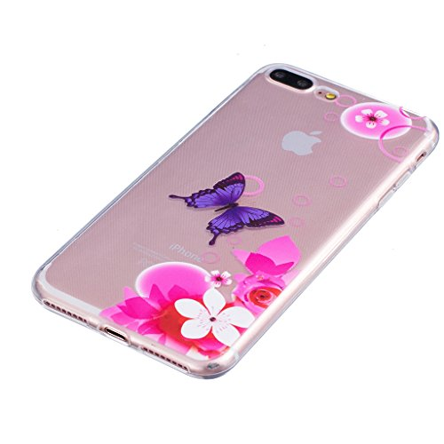 "Hülle iPhone 7 Plus, IJIA Ultra Dünnen Rosa Blumen Schmetterling TPU Weich Silikon Handyhülle Schutzhülle Handyhüllen Schale Cover Case Tasche für Apple iPhone 7 Plus (5.5"") + 24K Gold Aufkleber"