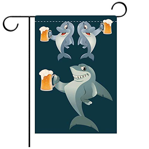 Custom Personalized Garden flag Outdoor flag A shark and a pair of dolphins giving a toast with a mug of beer Oktoberfest Party or Decorative Deck, patio, Porch, Balcony Backyard, Garden or Lawn