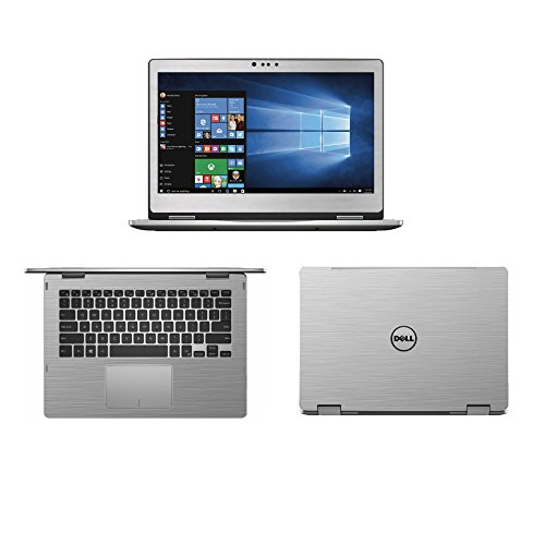 Silver Brushed Aluminum skin decal wrap skin case for Dell inspiron 13 7000 series 7368 7378 13.3 2 in 1 Laptop