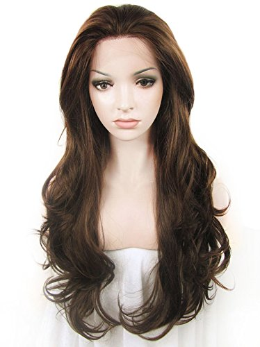 Imstyle Good Quality Heat Resistant Wavy Drag Queens Natural Brown Synthetic Lace Front Wig