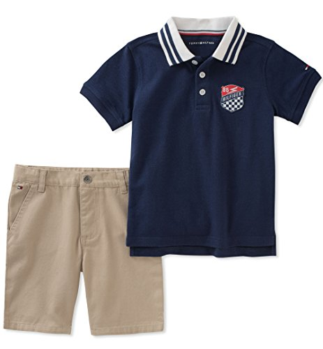 a67458469 Galleon - Tommy Hilfiger Boys' 2 Pieces Polo Shorts Set, Navy, 4T