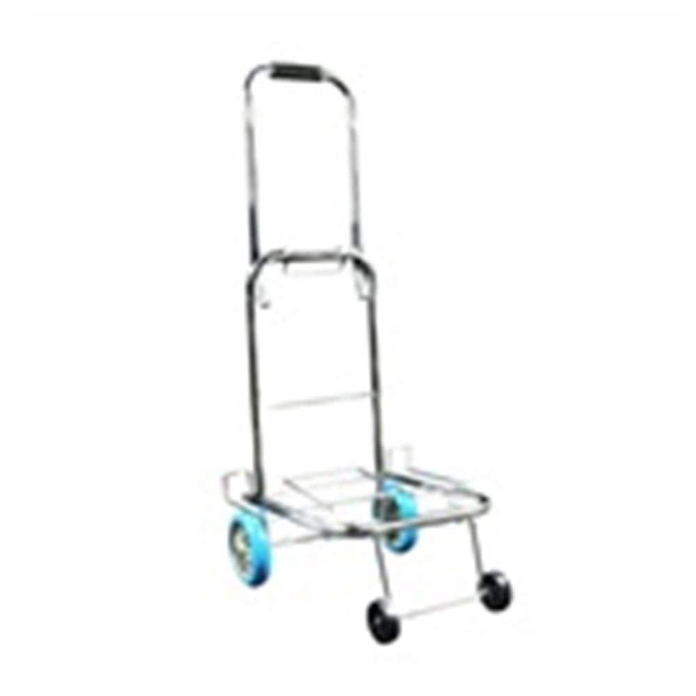 TLMYDD Trolley Household Folding Portable Mute Trolley Car Shopping Cart Luggage Car Hot Rolled Steel PU Wheel Can Bear 25kg Trolley (Color : A)