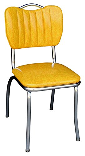 Richardson Seating Single Tone Channel Handle Back Retro Kitchen Chair with 1 Pulled Seat, Cracked Ice Yellow, 18