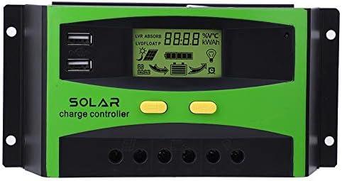 30A PWM ソーラー充電コントローラ 48V チャージコントローラー ソーラーチャージコントローラー パネル バッテリレギュレータ LCDソーラー充電コントローラ デュアル USB付き 保護機能