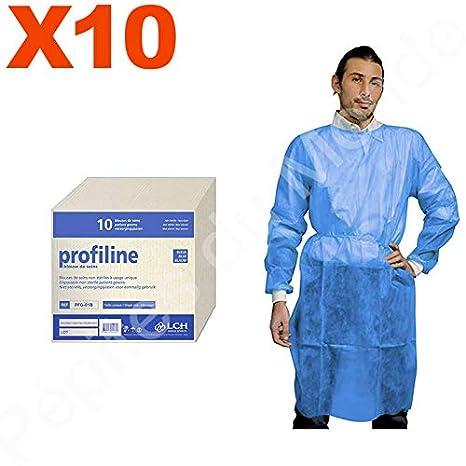 Bata de protección azul desechable talla única fijación cordón Set 10 bolsas 10 Blouses - pdm-pfg01b-10 by Pépites mundo: Amazon.es: Salud y cuidado ...