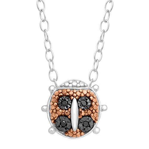 Diamond Ladybug Pendant (Teeny Tiny Ladybug Pendant Necklace with Black Diamonds in Sterling Silver)