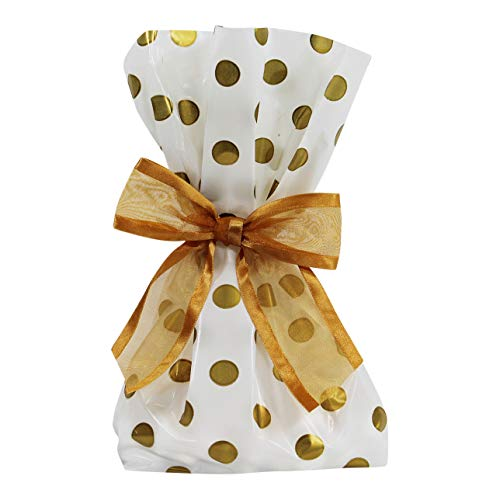 Saybrook Products Elegant Gold Dot Cellophane Treat/Party Favor Bags with Twist-Tie Organza Bow. Set of 10 11x5x3 Goodie Bags with Bows for Weddings & Celebrations. White, Gold