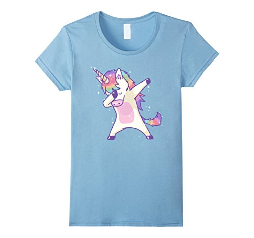 Womens Women's Dabbing Unicorn Shirt Dab Hip Hop Magic Girl Clothes Medium Baby Blue (Gay Bunny Costume)
