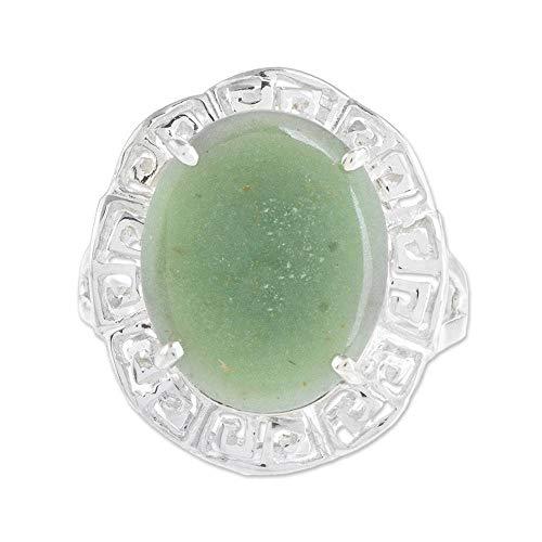 NOVICA Jade .925 Sterling Silver Ring, Ancestral Pride in Apple - Green Novica Ring