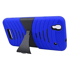 Dual Layer Plastic Silicone Wave Blue On Black Hard Cover Snap On Case W/ Horizontal Kickstand For ZTE Boost Max N9520 + Free Screen Protector (Accessorys4Less)