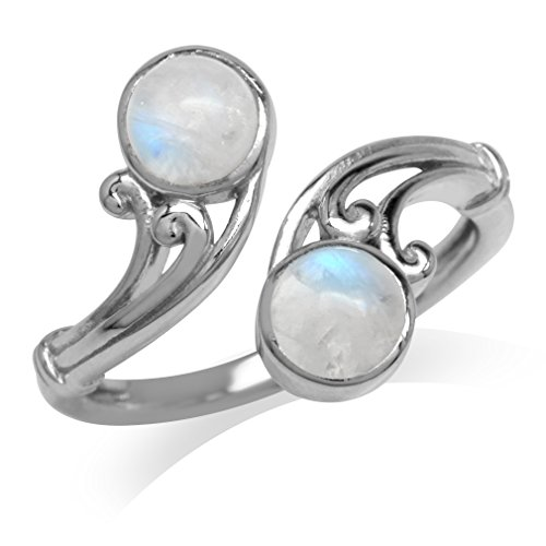 Natural Moonstone White Gold Plated 925 Sterling Silver Victorian Swirl Bypass Ring Sizes 6 -6