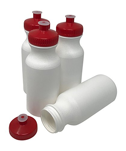 CSBD Blank 20 oz Sports and Fitness Squeeze Water Bottles, BPA Free, HDPE Plastic, Made in USA, Bulk (White Bottle - Red Lid, 4 -