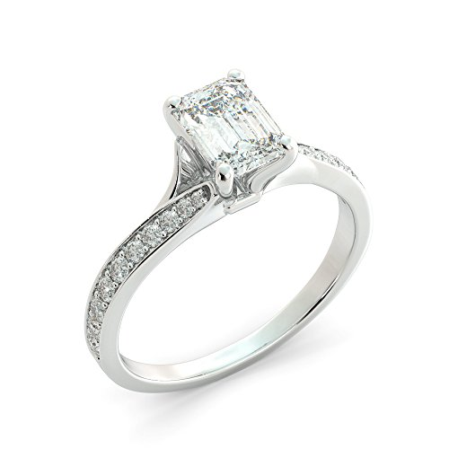 (1.51 tcw Emerald Cut Charles & Colvard Forever One Moissanite & Round Cut Diamond Split Shank Custom Engagement Ring Your choice of 14k White Rose or Yellow Gold)