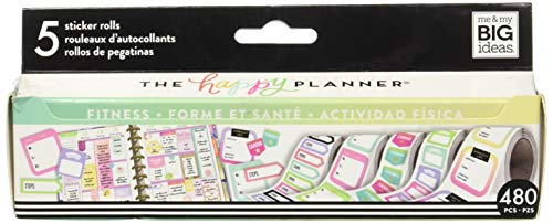 Me & My Big Ideas PRS-01 Roll Fitness Happy Planner Sticker, - Step Journals Decorative