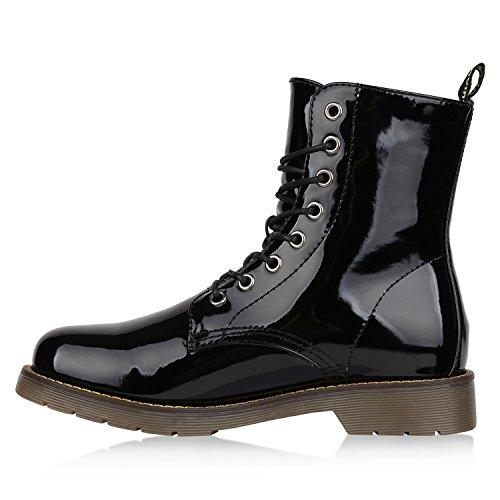 Stiefelparadies Damen Schuhe Stiefeletten Outdoor Worker Boots Leicht Gefütterte Stiefel Flandell Schwarz