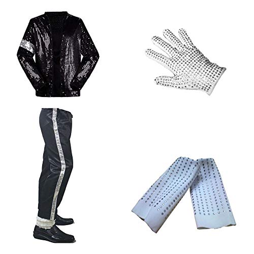 CIGUO Adult Child MJ Michael Jackson Jackets Billie Jean Jacket Suit Dance Cosplay Jackson Costume Set Full Size (Kid L 66-77lb, Set(top+Pant+Glove+Sock)) -