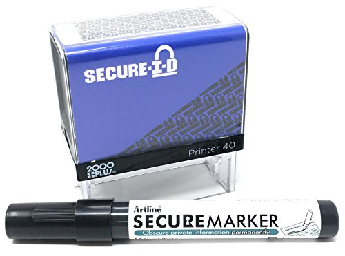 Imprint Block - SECURE ID and SECURE MARKER COMBO, Identity Theft Block Out Stamp and Marker Combo. Perfect For Blocking Out Confidential Information, Blue Case