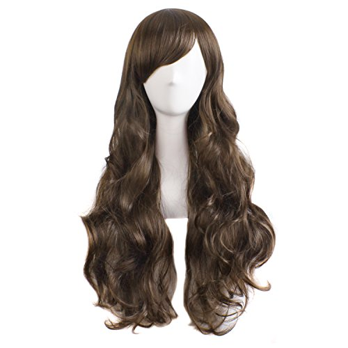 MapofBeauty Charming Women's Long Curly Full Hair Wig (Brown)