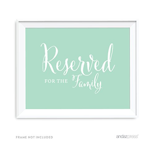 Andaz Press Wedding Party Signs, Mint Green, 8.5x11-inch, Reserved for Family, 1-Pack