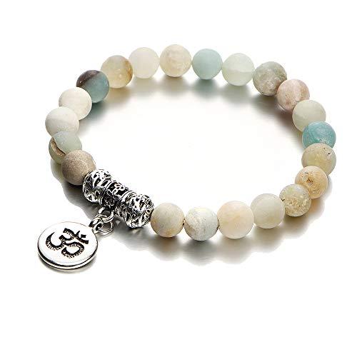 Natural Bangles (BOLERPE Vintage OM Rune Strand Bracelets & Bangles for Women Men Natural Stone Handmade Wristband Beads Yoga Bracelet)