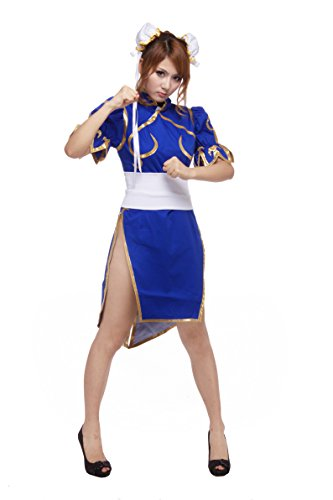 Ourcosplay Women's Superior Street Fighter Chun Li Cosplay Costume 3Pcs Set (Women XXL)