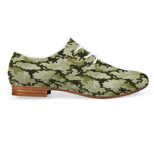 Camo Leather Oxfords Lace Up Shoes,Pattern in Green Shades Army Background Woodland Wild Nature Bootie for Girls ladis Womens,US 6