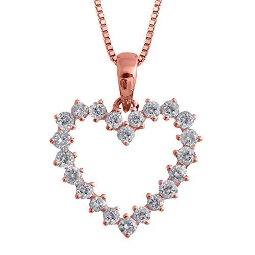 Diamond Necklace Heart 1/2 Ct (IGI Certified 14k Rose Gold Heart Diamond Pendant Necklace (1/2 Carat))