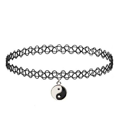ZJKJ 90s Black Tattoo Choker Necklace Yin Yang pendant