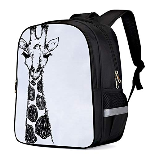Hand Painting Giraffe Black and White Kids School Backpacks for Girls Boys,Cool Shoulder Backpack Casual Book Laptop Bag,16.1