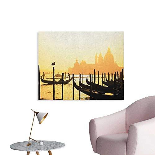Anzhutwelve Venice Art Stickers Romantic Italian City at Sunrise Line of Gondolas Lagoon and Basilica Silhouette Poster Paper Mustard Black W36 xL24 ()