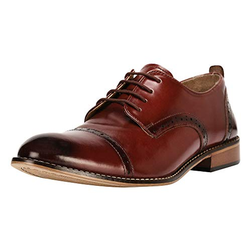 Liberty Men's Leather Double Buckle Monk Strap/Laceup Cap Toe Dress Shoes (8.5 M US, Cognac Laceup)