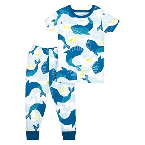 (LAMAZE Organic Baby Boys' Toddler 2 Piece Sleepwear, Blue Whales, 9-12M )