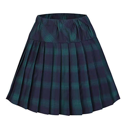 Urban CoCo Women's Elastic Waist Tartan Pleated School