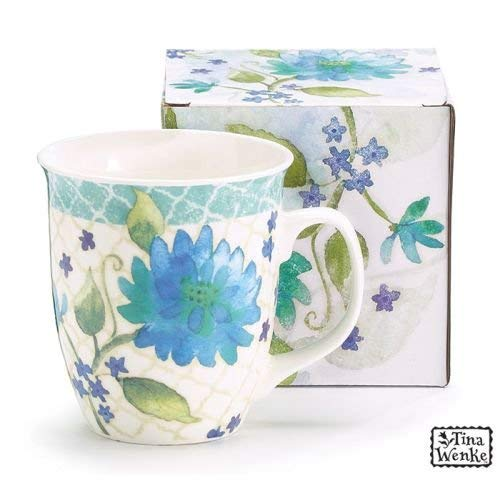 - Burton & Burton Blue Floral and Lattice Coffee Latte Mug 16 oz tall