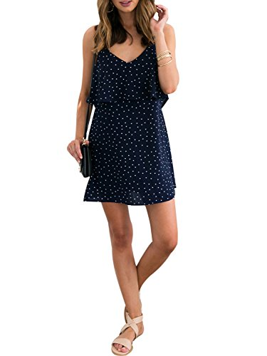 - Berrygo Women's Casual Loose Short Dress Backless Ruffled Polka Dot Chiffon Beach Mini Dress Navy Blue