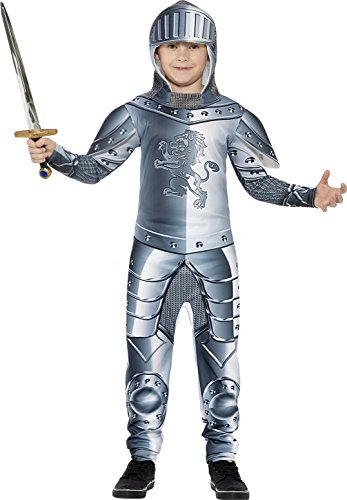 Smiffy's Children's Deluxe Armoured Knight Costume, Jumpsuit & Headpiece, Ages (Armoured Knight)