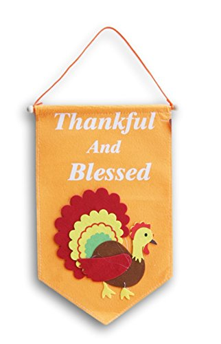 Felt Hanging Thanksgiving Autumn Themed Thankful and Blessed Decor - Approx 9 x 15 (Turkey Door Hanger)