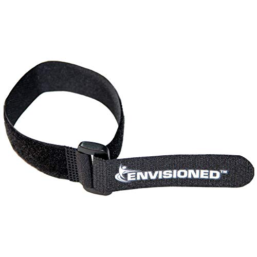 "Reusable Cinch Straps 1"" x 12"" - 12 Pack, Multipurpose Quality Hook and Loop Securing Straps (Black) - Plus 2 Free Bonus Reusable Cable Ties"