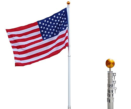 20 Ft Aluminum Telescopic Flagpole Flag Ball Pole Top Kit W/ 3'x5' American Flag