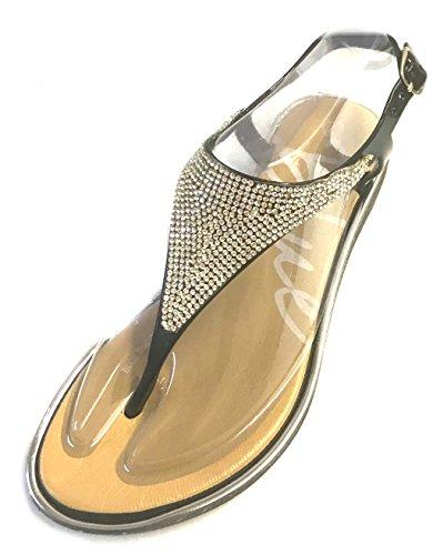 Roman Star Strappy Womens Glam Shoes Gladiator Bay Flats Sandals Thongs Black tSxrwtTEn