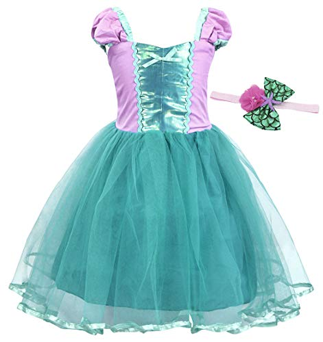 HenzWorld Little Mermaid Ariel Costume Birthday Party Dress Princess Headband Accessories Set Green -