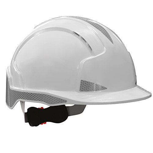 EVOLite® Helmet with Silver CR2™ Reflectivity, Vented, Standard Peak, Revolution™ Wheel Ratchet & 3D Adjustment System (EN397) -In White (Includes free pair disposable ear plugs). JS