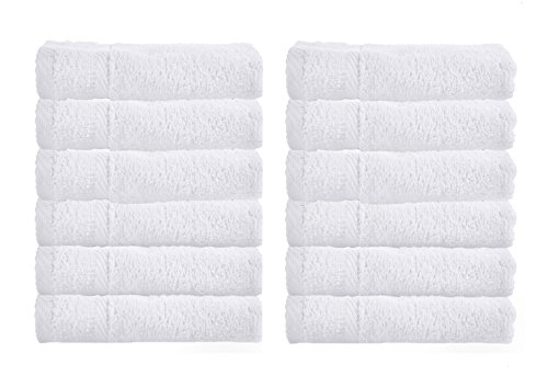 Luxury Hotel Washcloths, 100% Egyptian Cotton, White Washcloth Set of (White Washcloth)